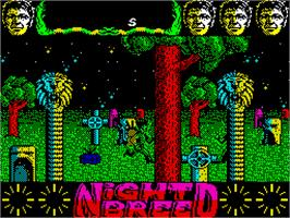 In game image of Clive Barker's Nightbreed:  The Action Game on the Sinclair ZX Spectrum.