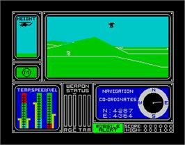 In game image of Combat Lynx on the Sinclair ZX Spectrum.