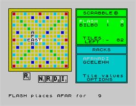 In game image of Computer Scrabble De Luxe on the Sinclair ZX Spectrum.