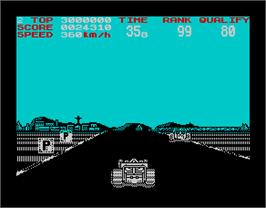 In game image of Continental Circus on the Sinclair ZX Spectrum.