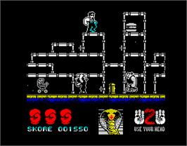 In game image of Contra on the Sinclair ZX Spectrum.
