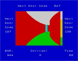 In game image of Corridors of Genon on the Sinclair ZX Spectrum.