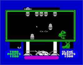 In game image of Cosmic Wartoad on the Sinclair ZX Spectrum.