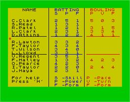 In game image of Cricket Captain on the Sinclair ZX Spectrum.