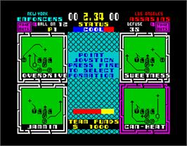 In game image of Cyberball on the Sinclair ZX Spectrum.