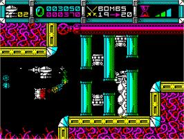In game image of Cybernoid: The Fighting Machine on the Sinclair ZX Spectrum.