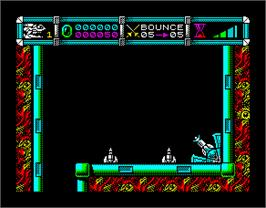 In game image of Cybernoid 2: The Revenge on the Sinclair ZX Spectrum.