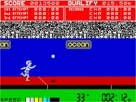 In game image of Daley Thompson's Decathlon on the Sinclair ZX Spectrum.