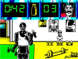 In game image of Daley Thompson's Olympic Challenge on the Sinclair ZX Spectrum.