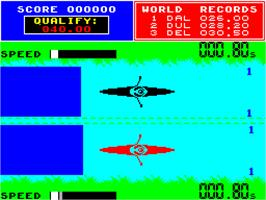 In game image of Daley Thompson's Supertest on the Sinclair ZX Spectrum.