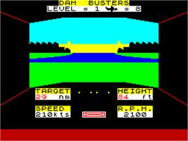 In game image of Dam Busters on the Sinclair ZX Spectrum.