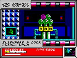 In game image of Dan Dare: Pilot of the Future on the Sinclair ZX Spectrum.