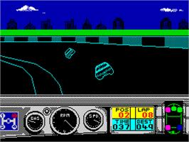 In game image of Days of Thunder on the Sinclair ZX Spectrum.