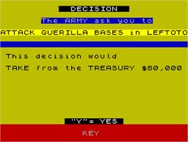 In game image of Dictator on the Sinclair ZX Spectrum.