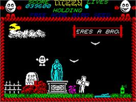 In game image of Dizzy: Prince of the Yolkfolk on the Sinclair ZX Spectrum.