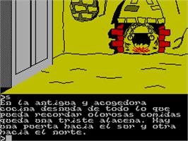In game image of Don Quijote on the Sinclair ZX Spectrum.