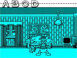 In game image of Donald's Alphabet Chase on the Sinclair ZX Spectrum.