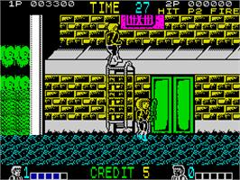 In game image of Double Dragon on the Sinclair ZX Spectrum.