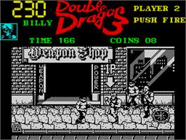 In game image of Double Dragon III: The Sacred Stones on the Sinclair ZX Spectrum.