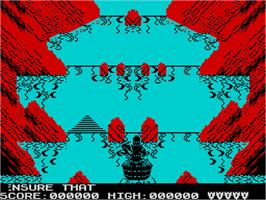 In game image of Dragon's Lair II: Escape from Singe's Castle on the Sinclair ZX Spectrum.