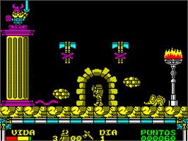 In game image of Drakkar on the Sinclair ZX Spectrum.
