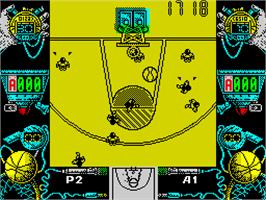 In game image of Drazen Petrovic Basket on the Sinclair ZX Spectrum.