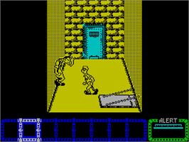 In game image of Dustin on the Sinclair ZX Spectrum.