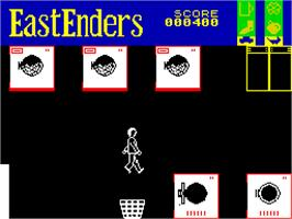 In game image of EastEnders on the Sinclair ZX Spectrum.