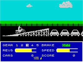 In game image of Eddie Kidd Jump Challenge on the Sinclair ZX Spectrum.