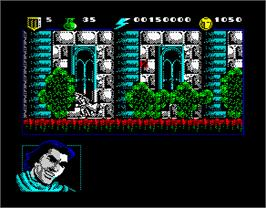 In game image of El Capitán Trueno on the Sinclair ZX Spectrum.