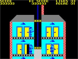 In game image of Elevator Action on the Sinclair ZX Spectrum.
