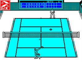 In game image of Emilio Sanchez Vicario Grand Slam on the Sinclair ZX Spectrum.