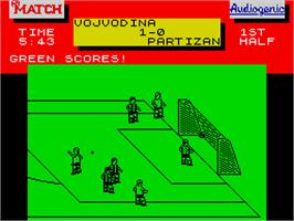 In game image of Emlyn Hughes International Soccer on the Sinclair ZX Spectrum.