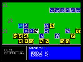 In game image of Encyclopedia of War: Ancient Battles on the Sinclair ZX Spectrum.