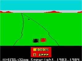In game image of Enduro on the Sinclair ZX Spectrum.