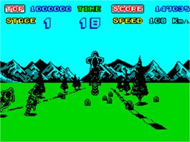 In game image of Enduro Racer on the Sinclair ZX Spectrum.