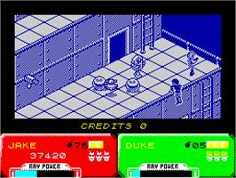 In game image of Escape from the Planet of the Robot Monsters on the Sinclair ZX Spectrum.