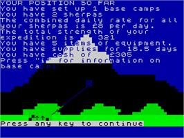 In game image of Everest Ascent on the Sinclair ZX Spectrum.