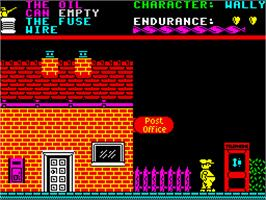 In game image of Everyone's A Wally (The Life of Wally) on the Sinclair ZX Spectrum.