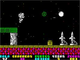 In game image of Exolon on the Sinclair ZX Spectrum.