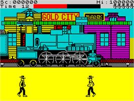 In game image of Express Raider on the Sinclair ZX Spectrum.