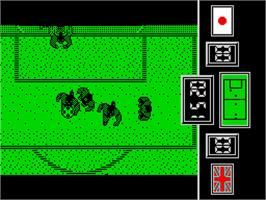 In game image of Fighting Soccer on the Sinclair ZX Spectrum.