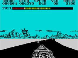 In game image of Fire and Forget 2: The Death Convoy on the Sinclair ZX Spectrum.