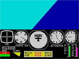 In game image of Flight Simulation on the Sinclair ZX Spectrum.