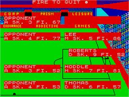 In game image of Football Manager 2 on the Sinclair ZX Spectrum.