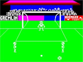 In game image of Footballer of the Year on the Sinclair ZX Spectrum.