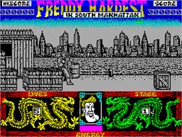 In game image of Freddy Hardest in South Manhattan on the Sinclair ZX Spectrum.