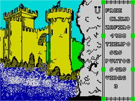 In game image of Free Climbing on the Sinclair ZX Spectrum.