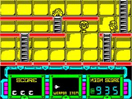 In game image of Future Knight on the Sinclair ZX Spectrum.