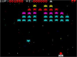 In game image of Galaxian on the Sinclair ZX Spectrum.